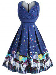 Plus Size A Line Swan Vintage Dress -