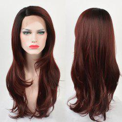 Long Ombre Side Parting Layered Straight Lace Front Synthetic Wig -