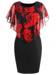 Plus Size Rose Overlay Dress -