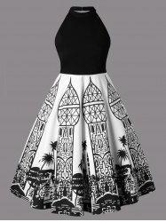Plus Size Monochrome Architecture Open Back Dress -