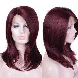 Long Side Parting Layered Straight Lace Front Synthetic Fiber Wig -