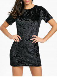 Velvet Short Sleeve Mini Dress -
