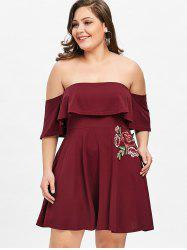 Off Shoulder Floral Applique Plus Size Dress -
