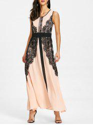 Lace Panel Long Evening Dress -