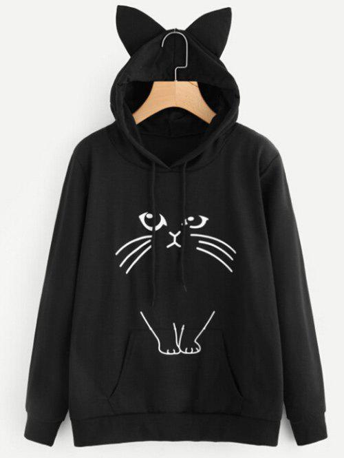Hot Drawstring Cat Pattern Pullover Hoodie