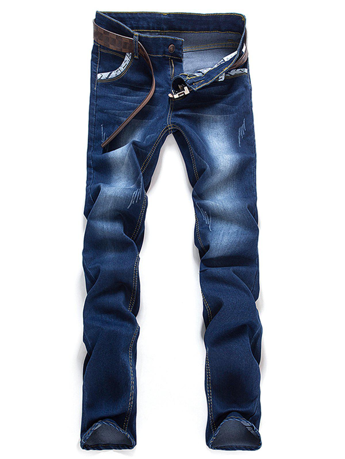 Store Bleach Wash Printed Edging Straight Leg Jeans