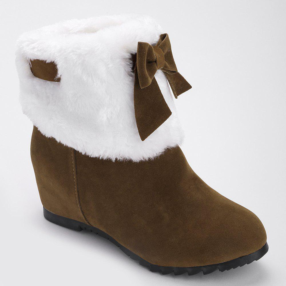 New Bow Hidden Wedge Fuzzy Short Boots
