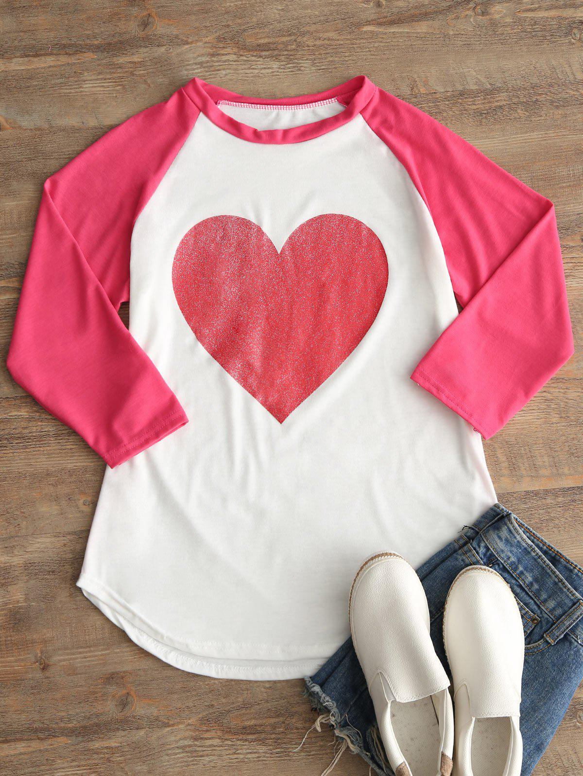 Trendy Heart Print Raglan Sleeve T-shirt