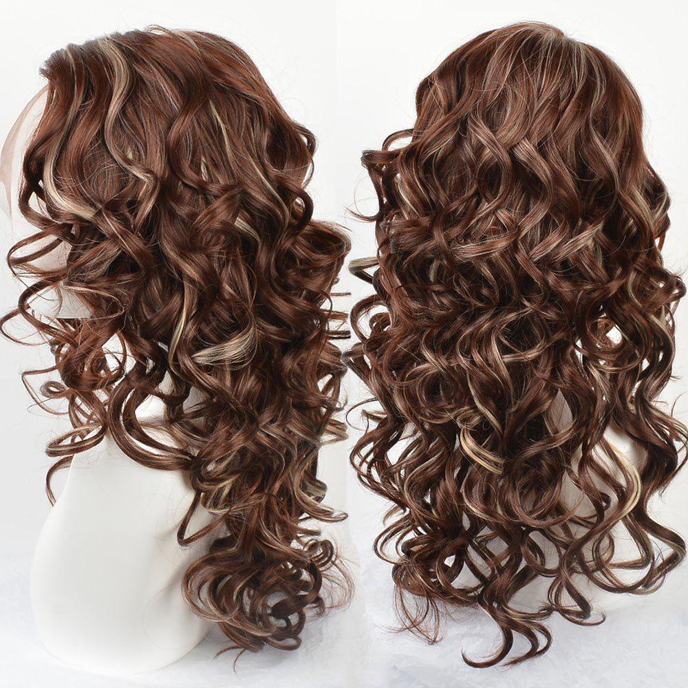 Store Long Side Parting Highlight Wavy Synthetic Lace Front Wig