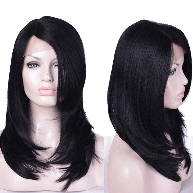 Affordable Long Side Parting Layered Straight Lace Front Synthetic Fiber Wig