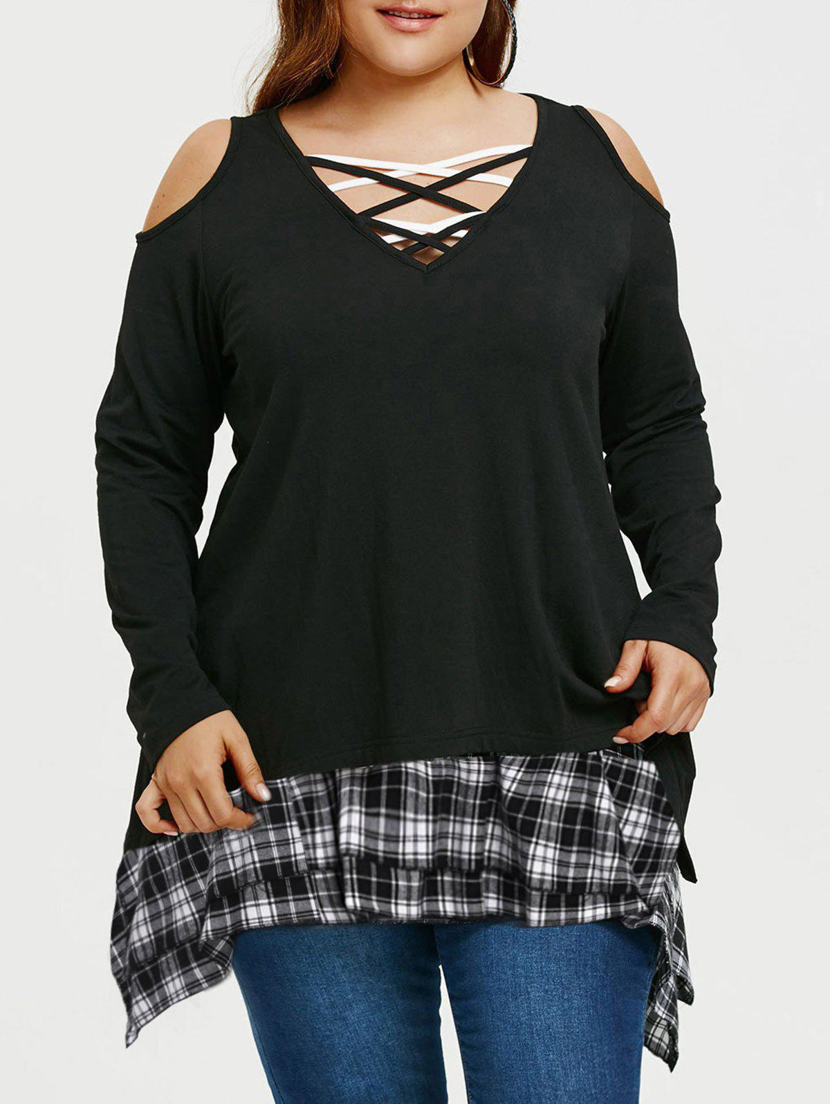 Online Plus Size Asymmetrical Tunic T-shirt with Plaid Extender Skirt