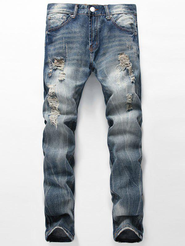 Chic Straight Leg Faded Distressed Jeans