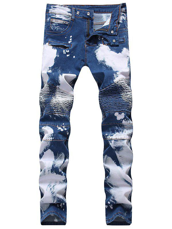 Chic Slim Fit Zip Fly Tie Dyed Biker Jeans