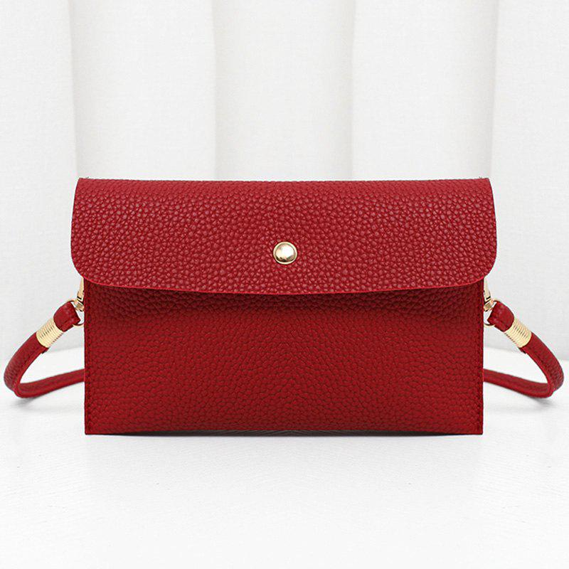 Chic Minimalist Faux Leather Flap Crossbody Bag