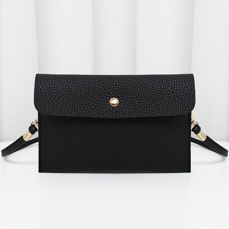Store Minimalist Faux Leather Flap Crossbody Bag