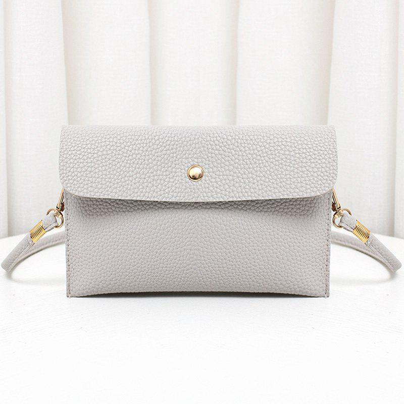 Outfit Minimalist Faux Leather Flap Crossbody Bag