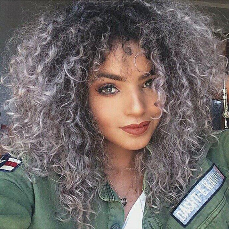 2019 Long Side Bang Fluffy Kinky Curly Ombre Synthetic Wig Rosegal Com
