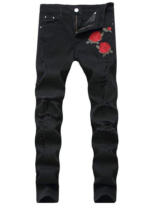 Online Flower Embroidered Ripped Jeans with Straight Leg