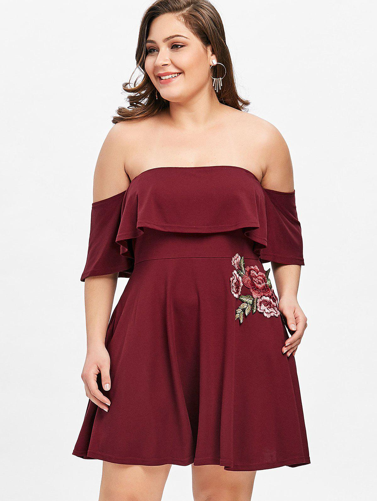 Buy Off Shoulder Floral Applique Plus Size Dress