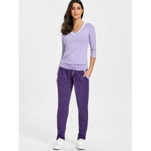 V Neck T-shirt with Drawstring Sports Pants -