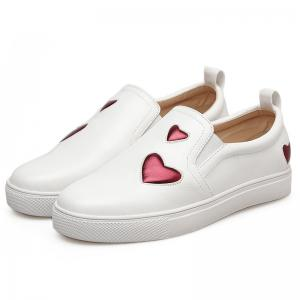 Heart Patched Flat Slip-On Sneakers -
