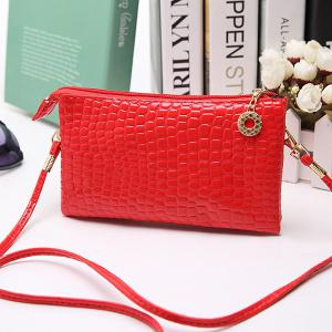 PU Leather Embossing Minimalist Crossbody Bag -