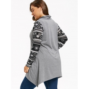 Plus Size Heaps Collar Long Sleeve Sharkbite T-shirt -