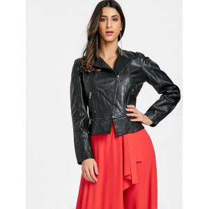Faux Leather Biker Jacket -