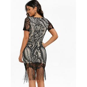 Fringed Lace Bodycon Midi Dress -