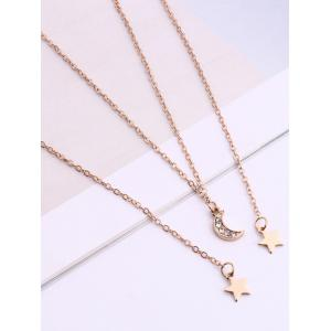 Strass Layered Moon Star Pendentif Collier -