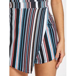 Striped Padded Bandeau Asymmetrical Romper -