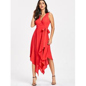 Sleeveless Handkerchief Hem Flowy Dress -