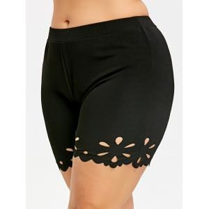 Plus Size Scalloped Edge Tight Shorts -