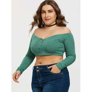 Off Shoulder Buttons Plus Size Tee -