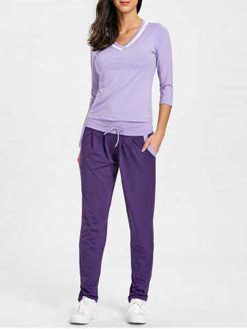 V Neck T-shirt with Drawstring Sports Pants
