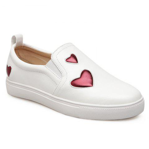 Buy Heart Patched Flat Slip-On Sneakers