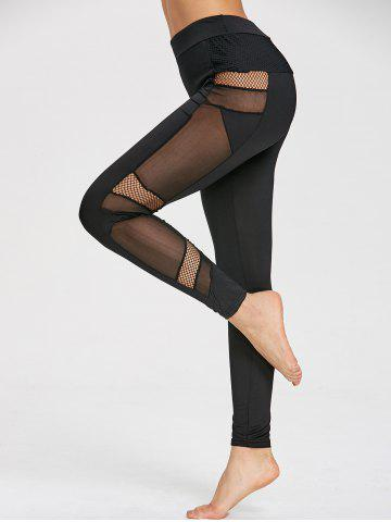 Affordable Mesh Panel High Waisted Gym Leggings