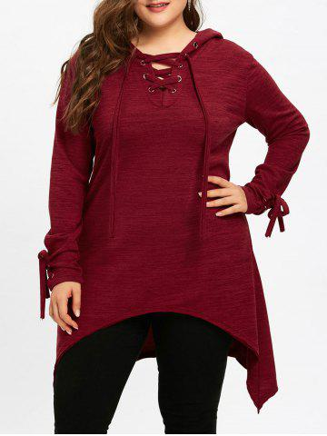 Outfits Plus Size Long Sleeve Hooded Sharkbite T-shirt
