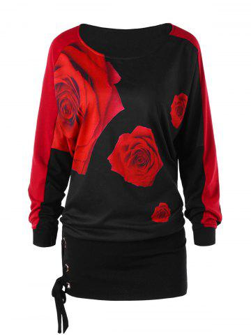 New Raglan Sleeve Rose Print Tunic Tee