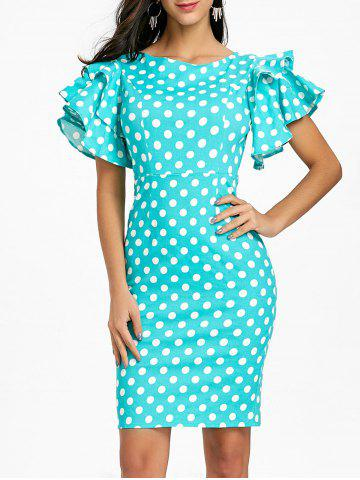 Latest Flare Sleeve Polka Dot Bodycon Dress