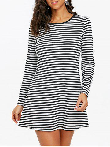 Striped Mini T-shirt Dress - BLACK WHITE - M