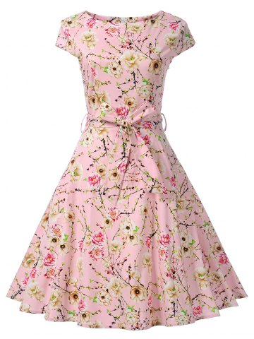 Outfit Floral Cap Sleeve Vintage Swing Dress