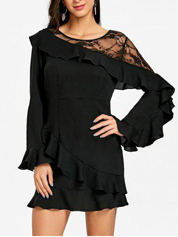 Affordable Lace Insert Flounce Long Sleeve Dress