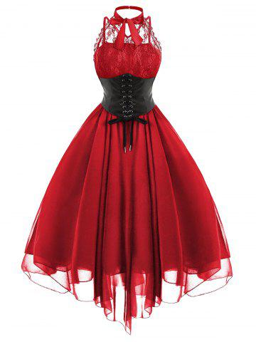 Discount Cross Back Lace Panel Gothic Corset Dress