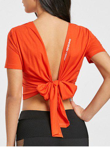 Fashion Sports Crop Back Wrap T-shirt