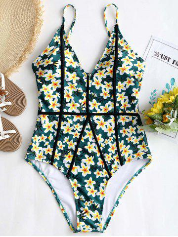 Affordable Floral One Piece Low Back Swimsuit
