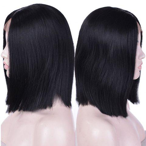 Latest Short Center Parting Straight Synthetic Lace Front Wig