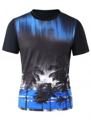 Crew Neck Coconut Tree Print Tee -