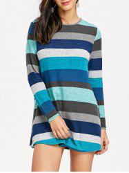 Knitted Striped Long Sleeve Mini Dress -