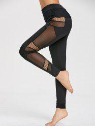 Mesh Panel High Waist Gym Leggings -